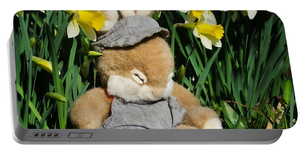 Rabbit Portable Battery Charger featuring the photograph Wake Up It's Springtime by Susie Peek