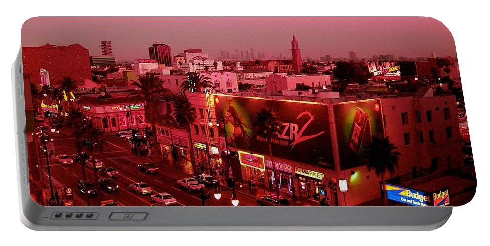 Hollywood Prints Portable Battery Charger featuring the photograph Walk Of Fame In Pink by Monique's Fine Art