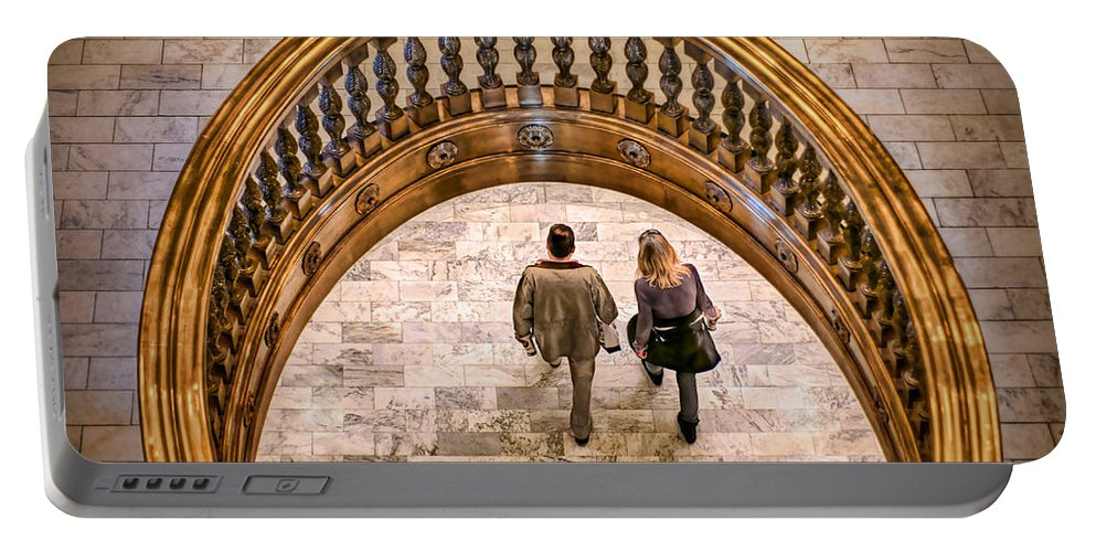 People Portable Battery Charger featuring the photograph Walking Below by Nikolyn McDonald