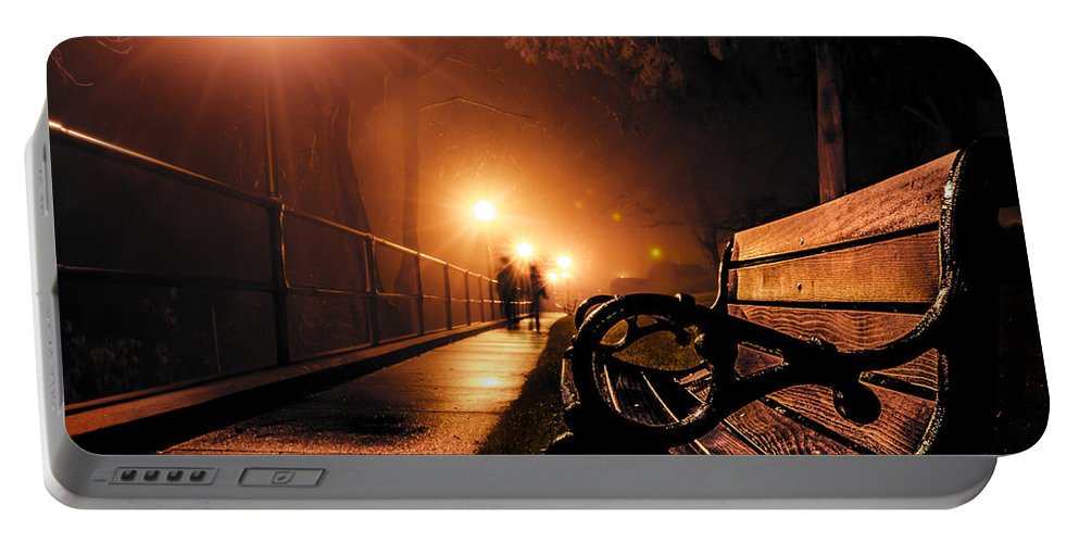 Bench Portable Battery Charger featuring the photograph Walking On A Misty Evening by Michael Arend