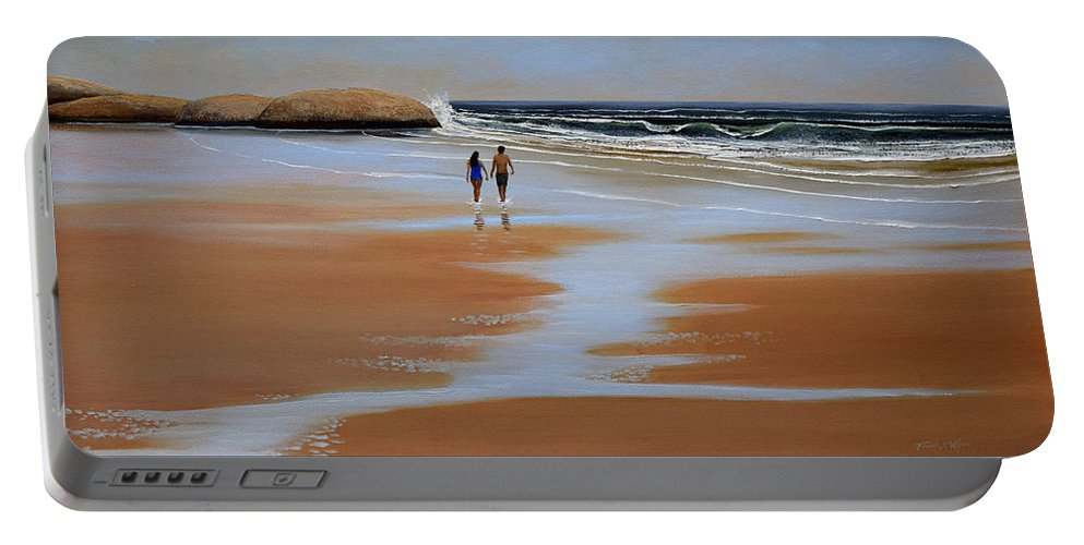 Beach Portable Battery Charger featuring the painting Walking The Beach by Frank Wilson