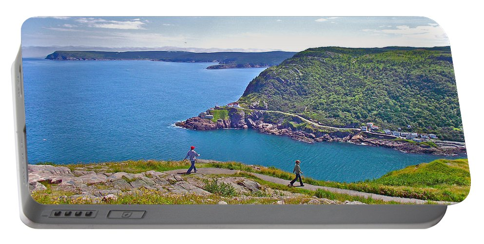 Walking Trails Everywhere In Signal Hill National Historic Site In Saint John's Portable Battery Charger featuring the photograph Walking Trails Everywhere In Signal Hill National Historic Site In St. John's-nl by Ruth Hager
