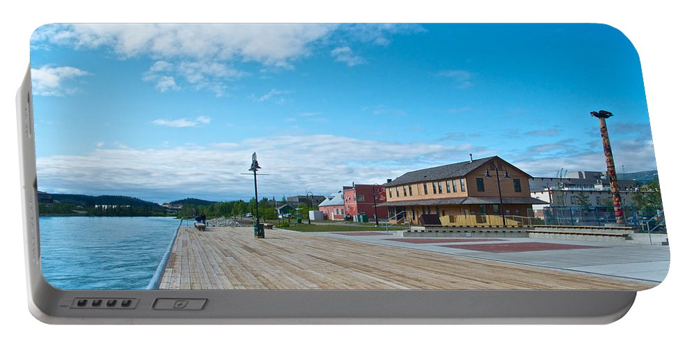 Walkway Along The Yukon River Portable Battery Charger featuring the photograph Walkway Along The Yukon River In Whitehorse-yk by Ruth Hager