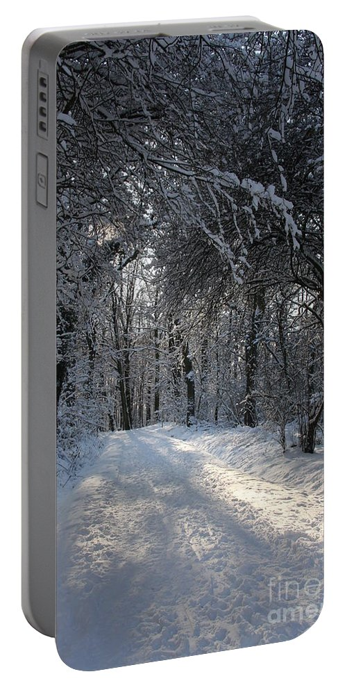 Winter Portable Battery Charger featuring the photograph Walkway In Black And White by Christiane Schulze Art And Photography