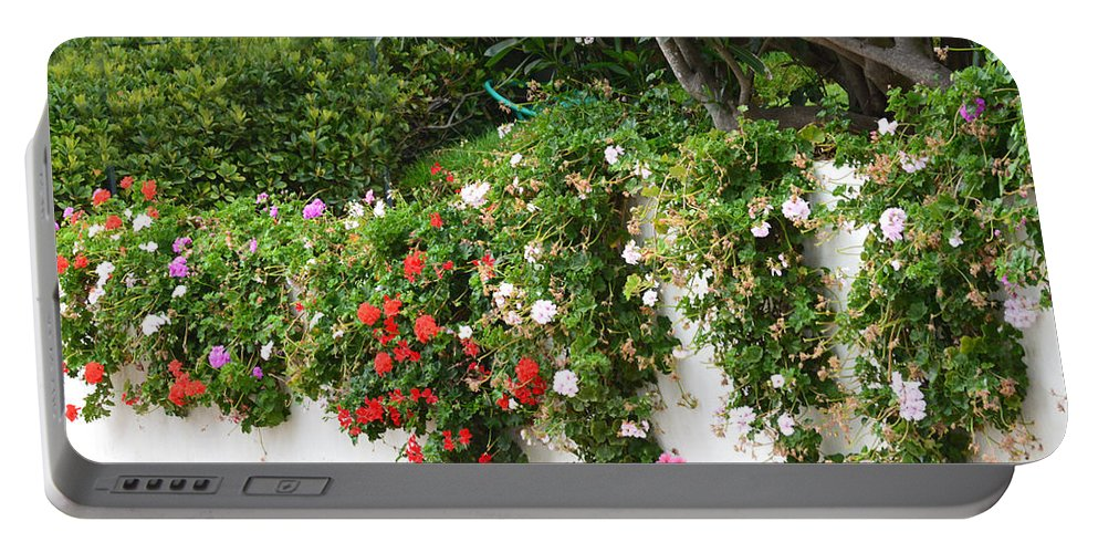 Barbara Snyder Portable Battery Charger featuring the digital art Wall Flowers by Barbara Snyder