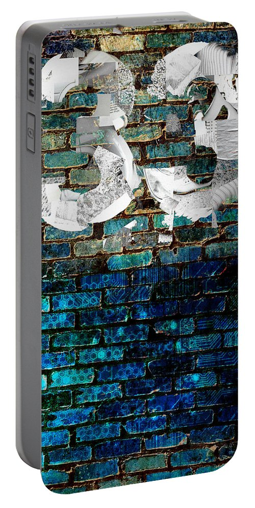 Digital-art Portable Battery Charger featuring the digital art Wall Of Knowlogy Abstract Art by Mary Clanahan