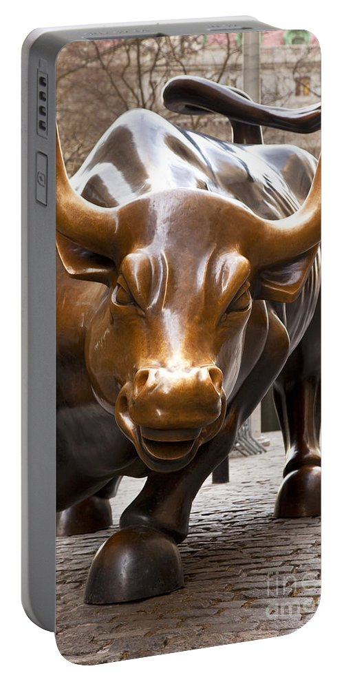 Bronze Portable Battery Charger featuring the photograph Wall Street Bull by Brian Jannsen