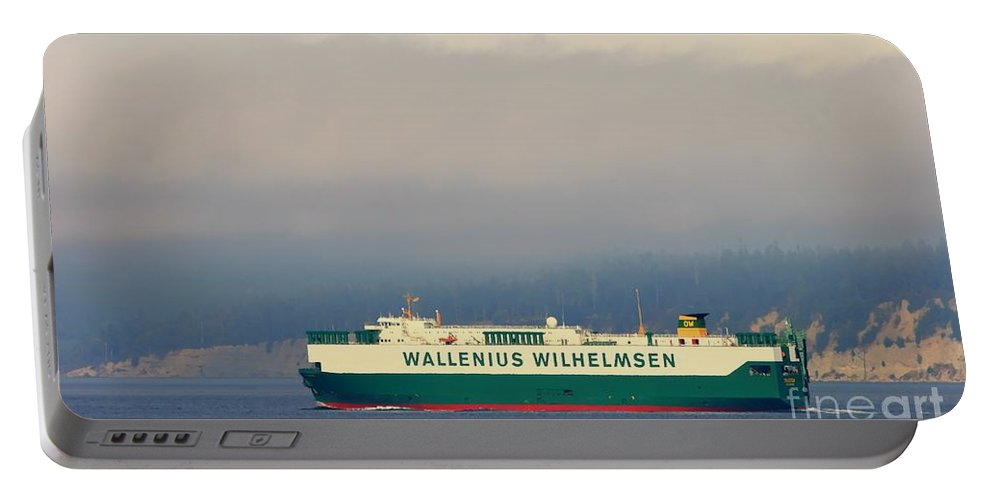 Wilhelmsen Portable Battery Charger featuring the photograph Wallenius Wilhelmsen Tristan Cargo Ship by Tap On Photo