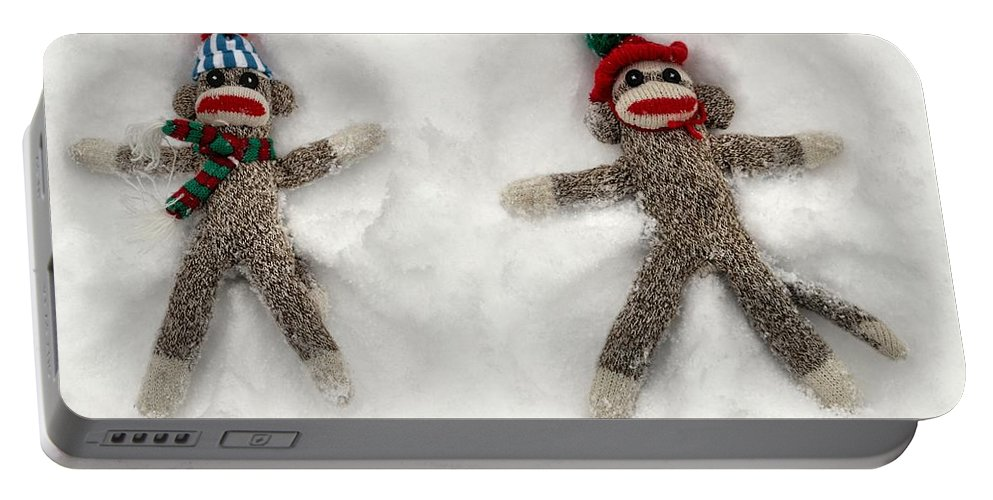 Wally Portable Battery Charger featuring the photograph Wally And Petey Snow Angels by Jennifer Wheatley Wolf