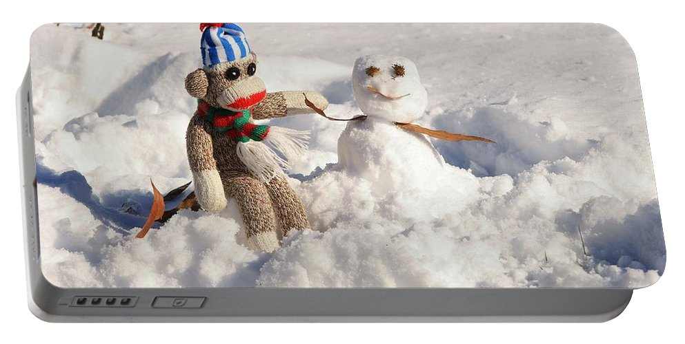 Wally Portable Battery Charger featuring the photograph Wally's Winter Friend by Jennifer Wheatley Wolf