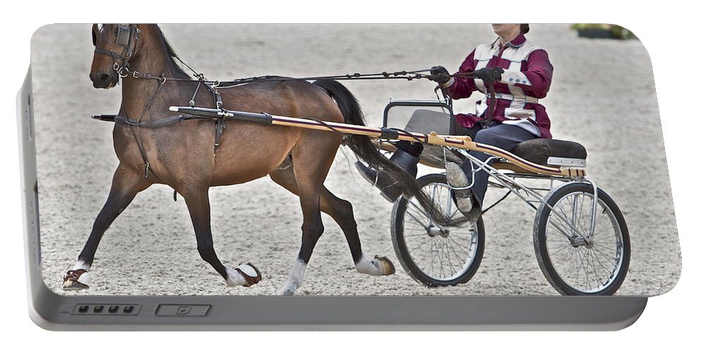 Horse Cart Driver Racing Devon Horse Show Portable Battery Charger featuring the photograph Wanna Race by Alice Gipson
