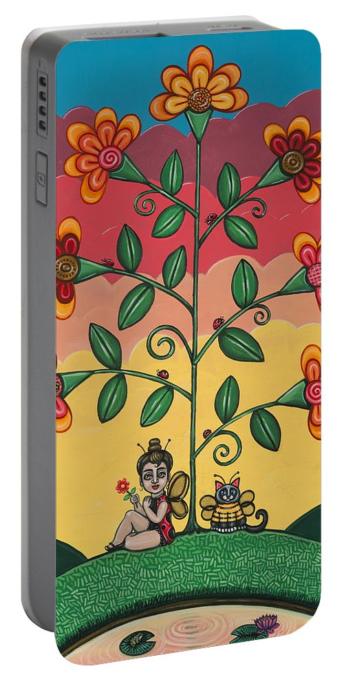 Bees Portable Battery Charger featuring the painting Wannabees by Victoria De Almeida