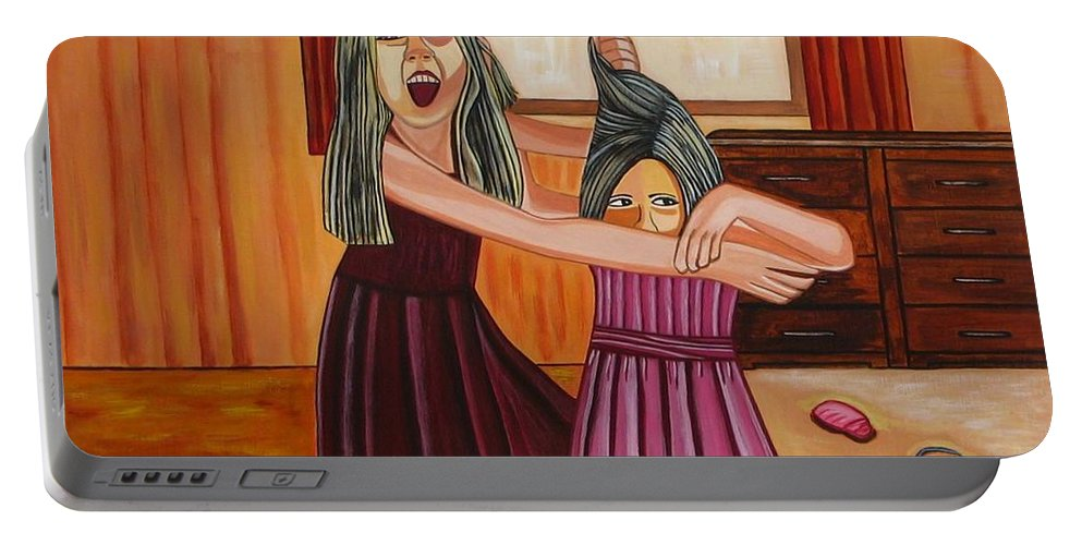 Paintings Of Children Portable Battery Charger featuring the painting War by Sandra Marie Adams