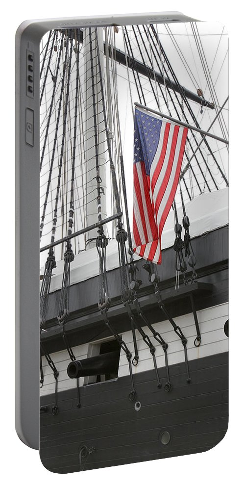Flag Portable Battery Charger featuring the photograph War Ship by John Cardamone