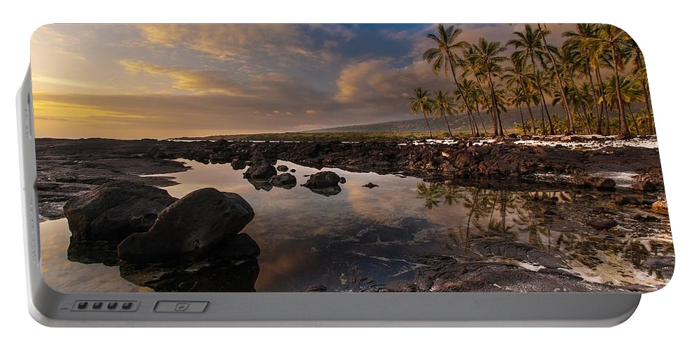 Place Of Refuge Portable Battery Charger featuring the photograph Warm Reflected Place Of Refuge Skies by Mike Reid