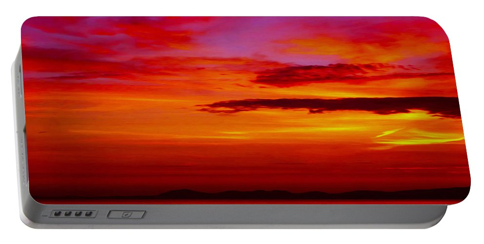 Seascape Portable Battery Charger featuring the photograph Warm Sunset by P Donovan