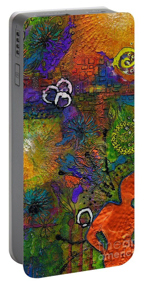 Acrylic Portable Battery Charger featuring the painting Warm Vibes by Angela L Walker