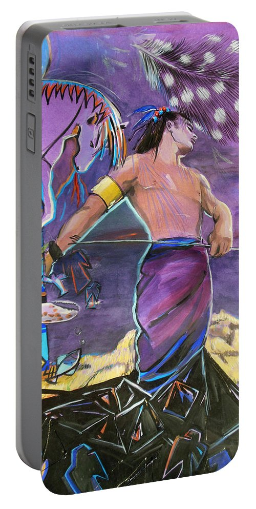 Indian Portable Battery Charger featuring the painting Warrior by Lucia Hoogervorst