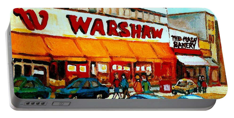 Montreal Landmark Portable Battery Charger featuring the painting Warshaws Paintings Famous Fruit Store Main Street Montreal Art Prints Originals Commissions Cspandau by Carole Spandau