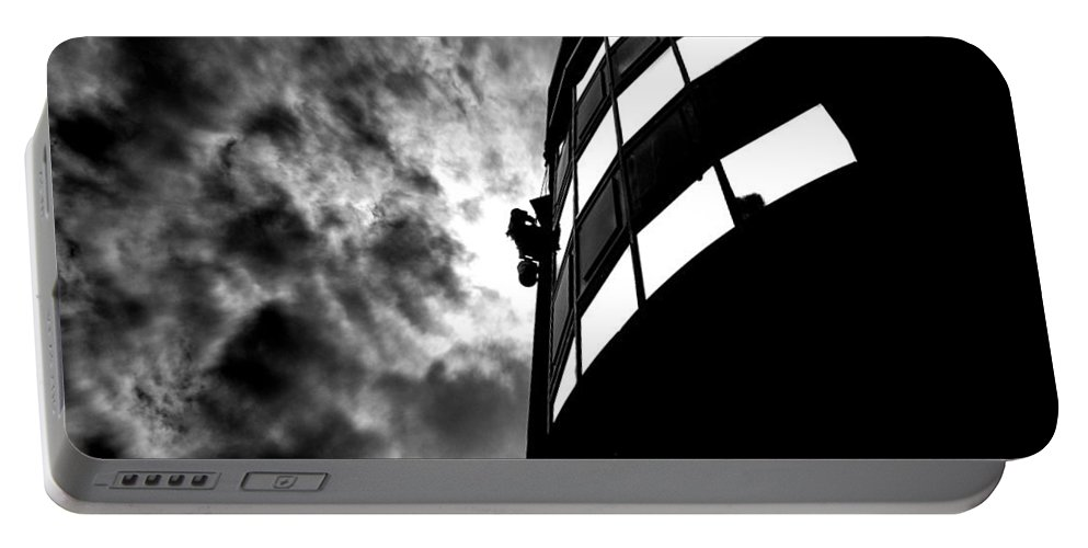 Window Portable Battery Charger featuring the photograph Washing Windows In The City by Bob Orsillo