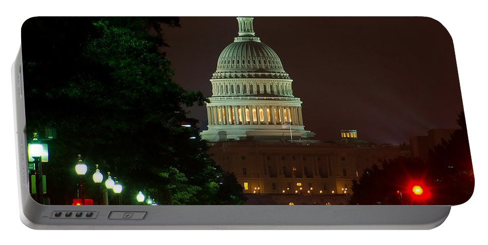 Washington Portable Battery Charger featuring the photograph Washington Dc At Night by Nick Zelinsky