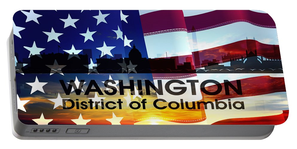 Portable Battery Charger featuring the mixed media Washington Dc Patriotic Large Cityscape by Angelina Vick