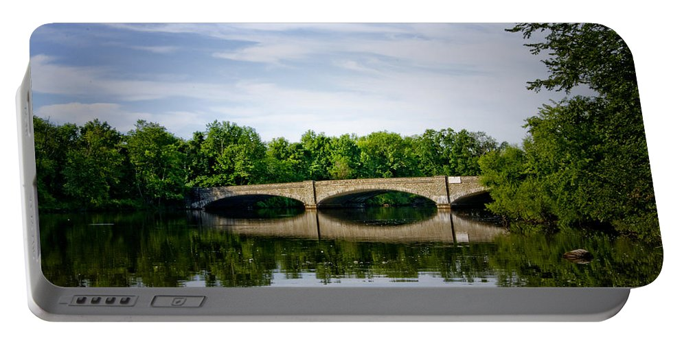 Washington Portable Battery Charger featuring the photograph Washington Road Bridge Over Lake Carnegie Princeton by Bill Cannon