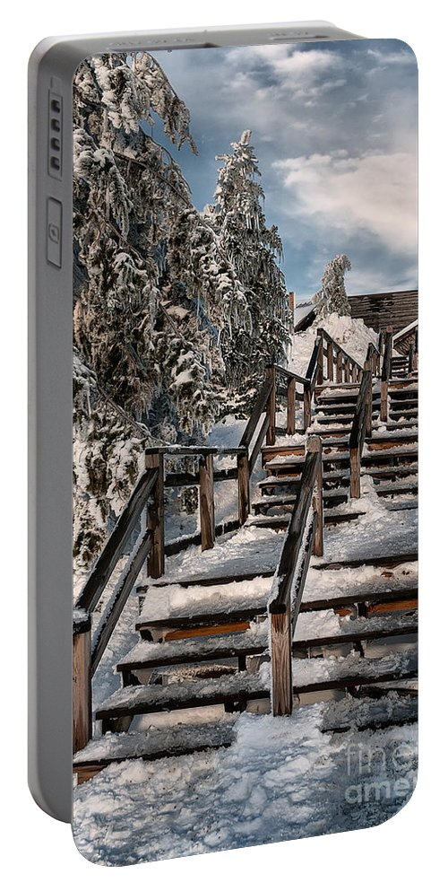 Snow Portable Battery Charger featuring the photograph Watch Your Step by Lois Bryan