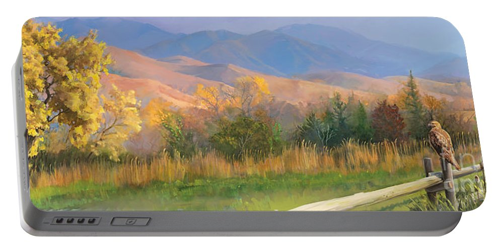Animals Paintings Portable Battery Charger featuring the painting Watching The Field by Rob Corsetti