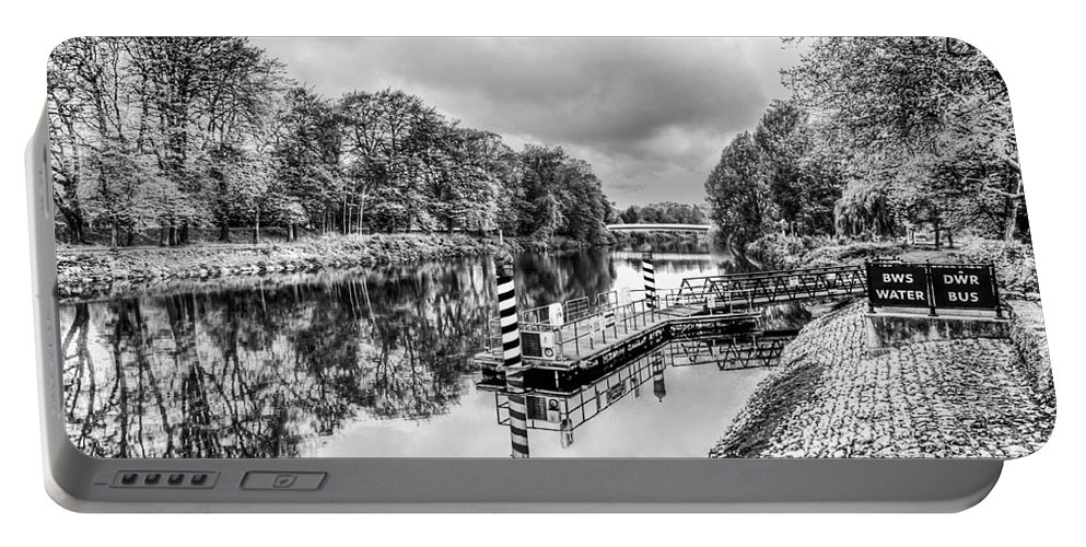 Water Bus Stop Portable Battery Charger featuring the photograph Water Bus Stop Bute Park Cardiff Mono by Steve Purnell