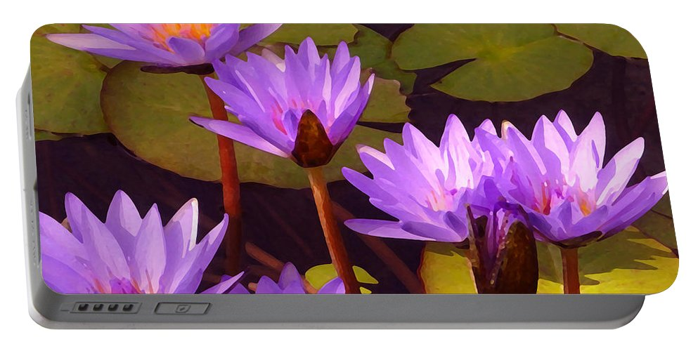 Water Lilies Portable Battery Charger featuring the painting Water Lily Pond by Amy Vangsgard