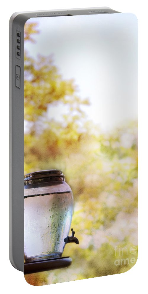 Water; Dispenser; Trees; Colorful; Pink; Yellow; Green; Refreshing; Cooler; Jug; Filled; Spicket; Spigot Portable Battery Charger featuring the photograph Water by Margie Hurwich