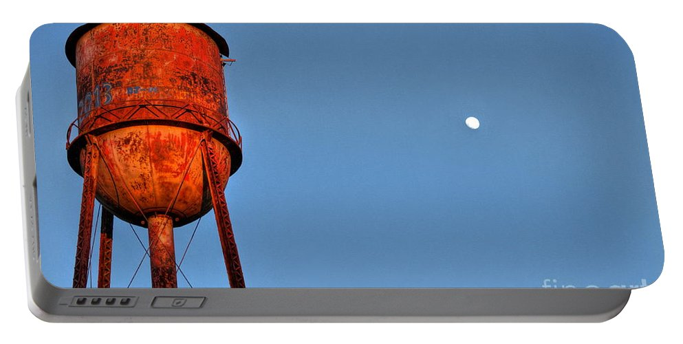 Reid Callaway Water Tower Portable Battery Charger featuring the photograph Water Moon In Watkinsville Georgia South Of Uga by Reid Callaway