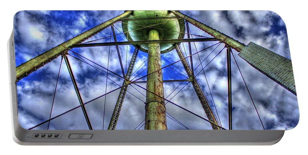 Reid Callaway Water Tower Art Portable Battery Charger featuring the photograph Mary Leila Cotton Mill Water Tower Art by Reid Callaway