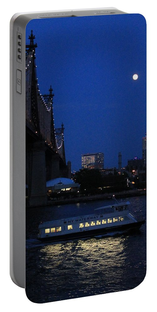 Queensboro Bridge Portable Battery Charger featuring the photograph Water Taxi by Catie Canetti