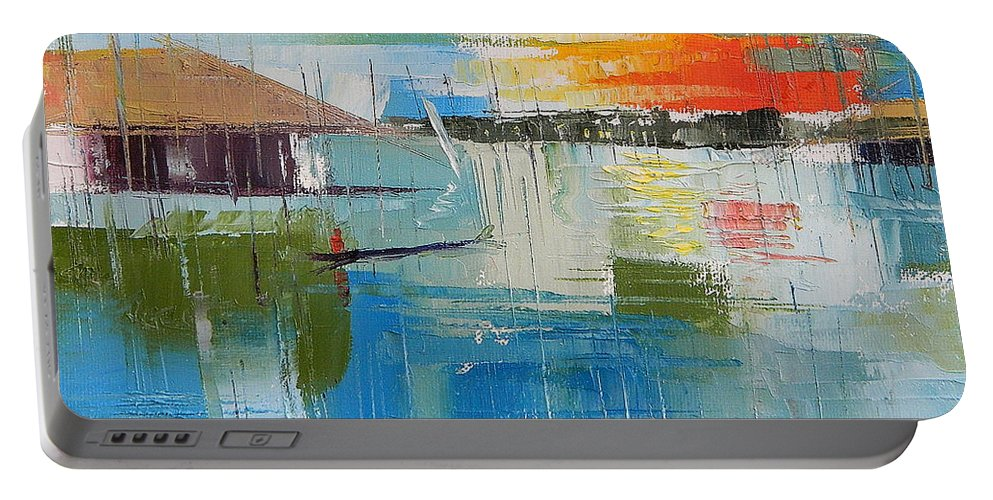 Lagos Portable Battery Charger featuring the painting Water Taxi by Said Oladejo-lawal