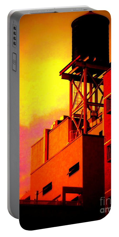 Water Tower Portable Battery Charger featuring the photograph Water Tower With Orange Sunset by Miriam Danar