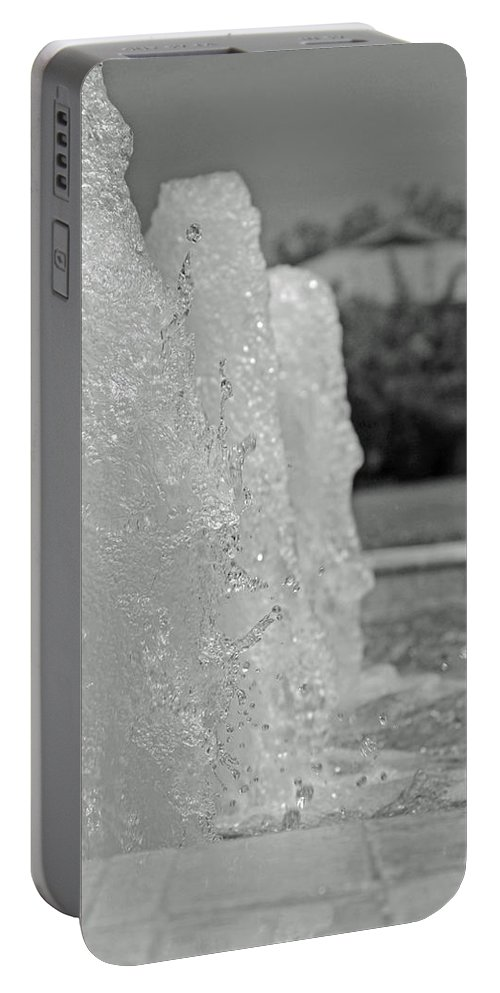 Black And White Portable Battery Charger featuring the photograph Water Trio Bw by Lucy Bounds