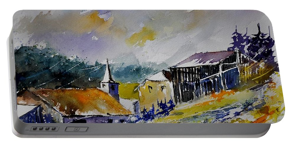 Landscape Portable Battery Charger featuring the painting Watercolor Baillamont by Pol Ledent