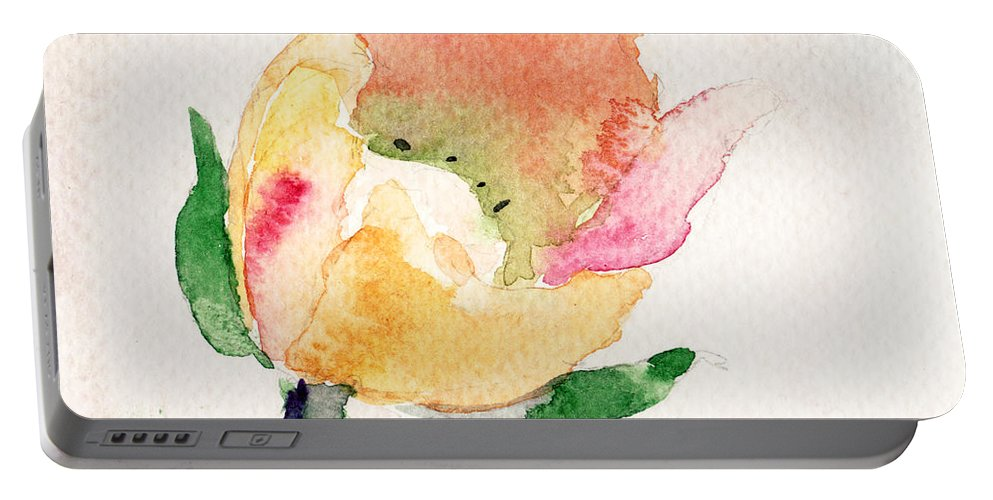 Background Portable Battery Charger featuring the painting Watercolor Illustration With Beautiful Flower by Regina Jershova