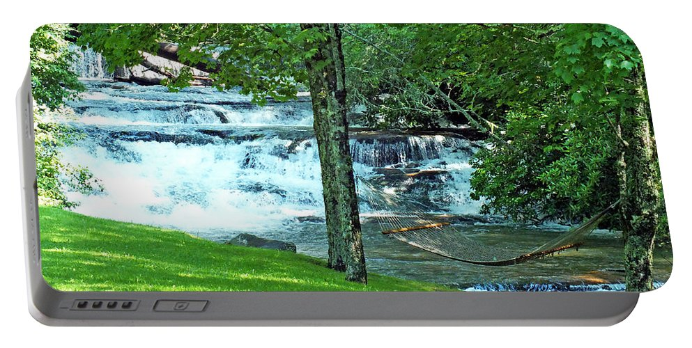 Duane Mccullough Portable Battery Charger featuring the photograph Waterfall And Hammock In Summer 2 by Duane McCullough