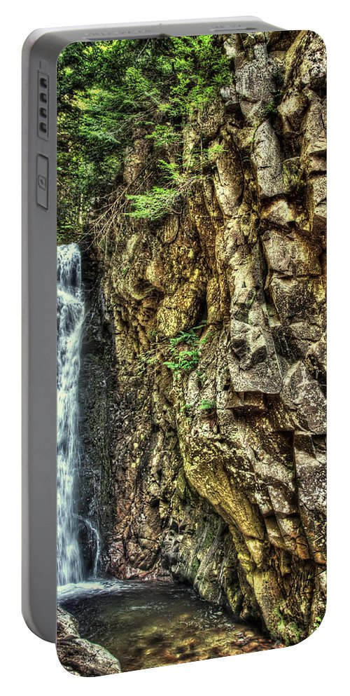 Waterfall Portable Battery Charger featuring the photograph Waterfall At Castle In The Clouds by Mark Valentine