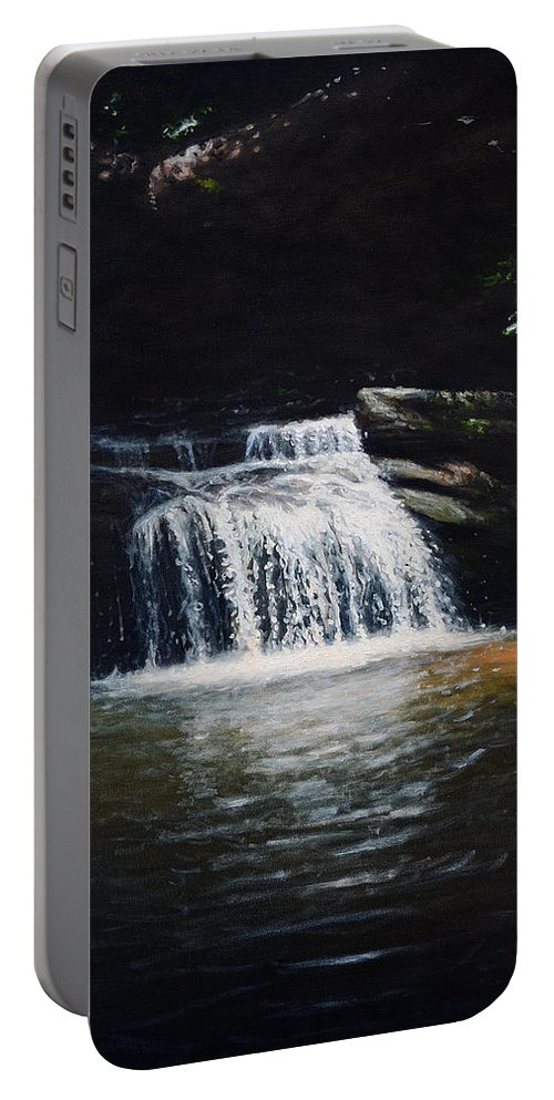 Landscape Portable Battery Charger featuring the painting Waterfall At Table Rock National Forest by Erik Schutzman