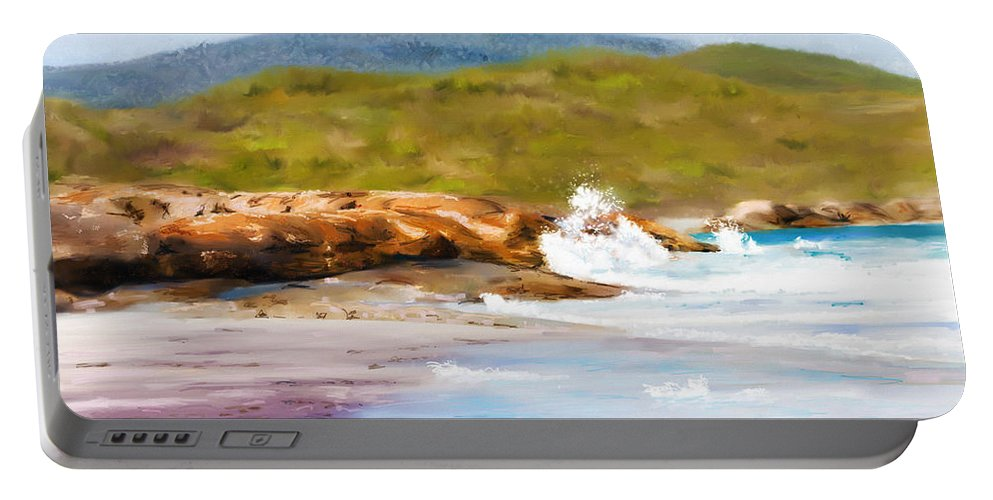 Beach Portable Battery Charger featuring the painting Waterfall Beach Denmark Painting by Michelle Wrighton