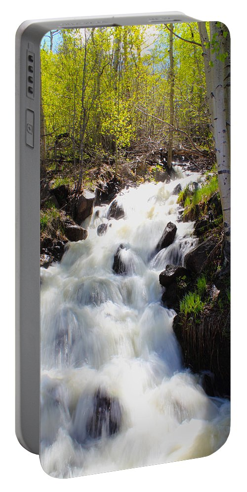 Waterfall Portable Battery Charger featuring the photograph Waterfall By The Aspens by Shane Bechler
