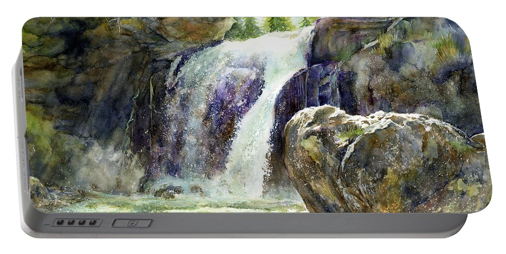 Watercolor Portable Battery Charger featuring the painting Waterfall by Hailey E Herrera