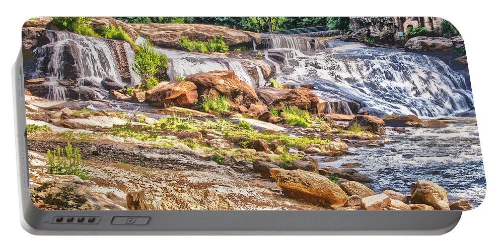 Trees Portable Battery Charger featuring the photograph Waterfall In Contrast by Elvis Vaughn