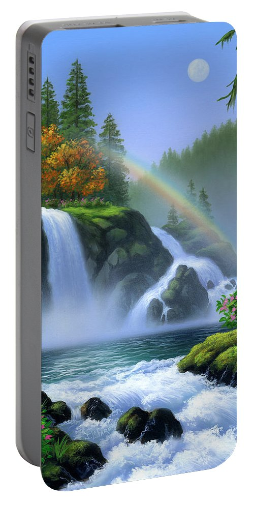 Waterfall Portable Battery Charger featuring the painting Waterfall by Jerry LoFaro