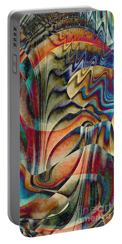 Abstract Portable Battery Charger featuring the digital art Waterfall by Klara Acel
