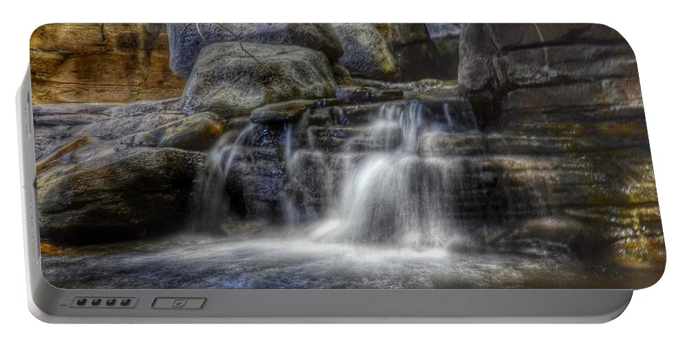 Waterfall. Water Portable Battery Charger featuring the photograph Waterfall by Marianna Mills